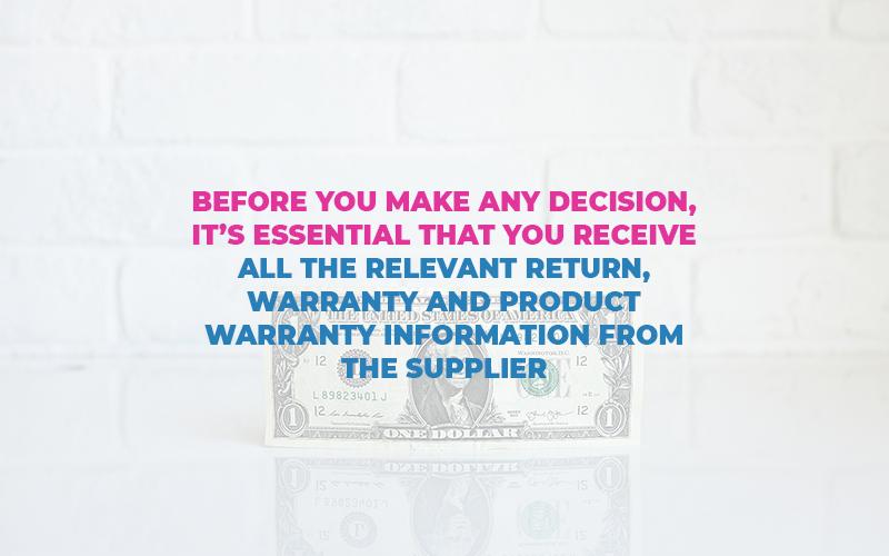 warranty information from supplier