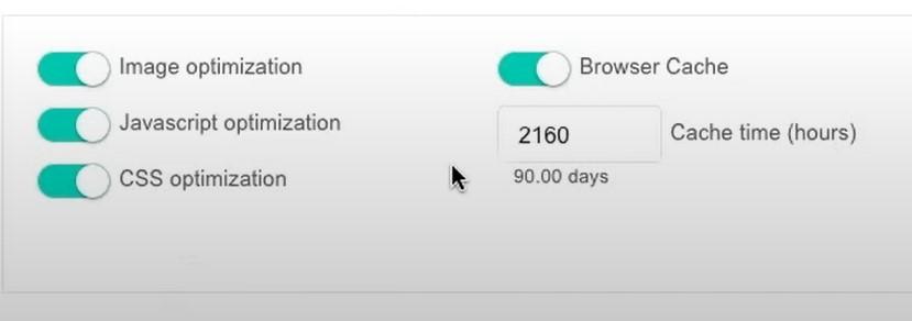 speed optimization settings for website builder