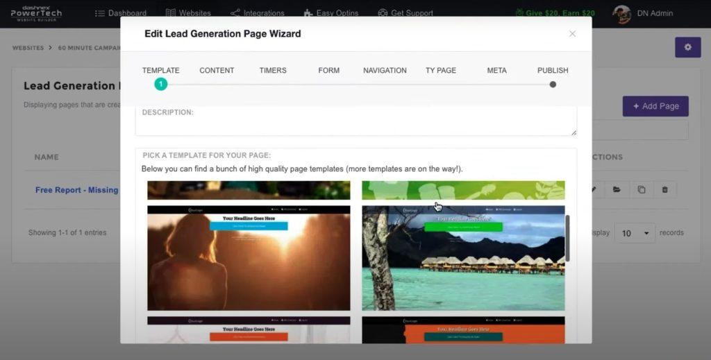 dashnex lead generation page wizard