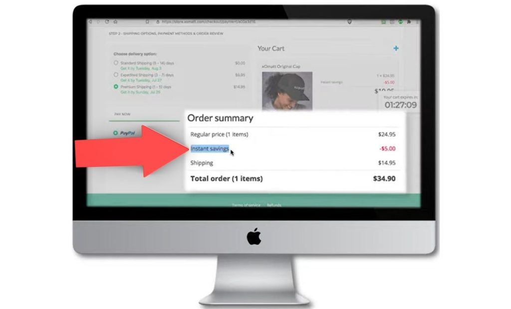 desktop checkout step 2 instant savings