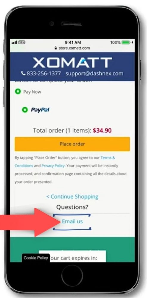mobile checkout page email us link
