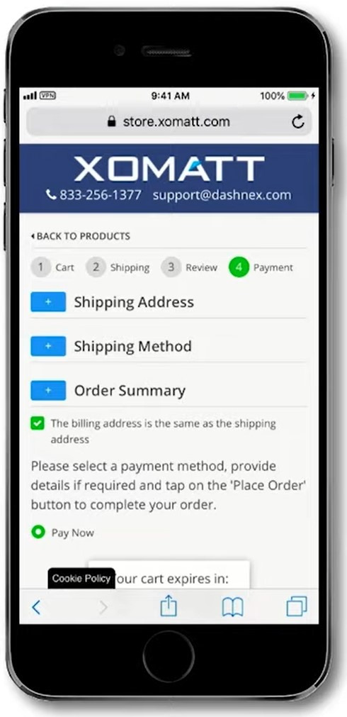 mobile order summary and payment