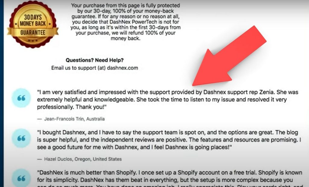 single page online checkout testamonials